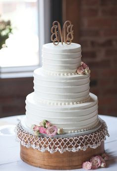 Classic white wedding cake with monogram topper. Click to view more from this blush Chattanooga wedding with Southern details at @a4alicat, with music by Sound Force and images by Gabby Dalton Photography | The Pink Bride www.thepinkbride.com