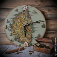 Часы ОСТРОВ СОКРОВИЩ - Декупаж,часы настенные,часы интерьерные,часы декупаж
