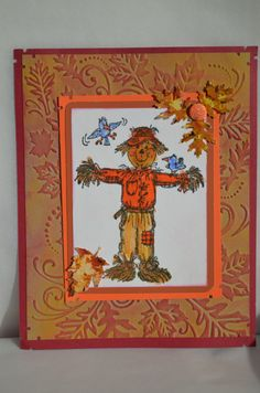 Scarecrow & birds & Fall Leaves embossing folder by Darice . sold separately & stamp is  made by Art Impressions Rubber Stamps, All items can be purchased in my ebay Store Pat's Rubber Stamps & Scrapbooks or call me 423-357-4334and place an order, or come by 1327 Glenmar Ave. Mt Carmel, TN 37645, Pat's Rubber Stamps & Scrapbook supplies 423-357-4334. We take PayPal & We take phone orders. You get free shipping with the phone orders.