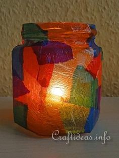Kids Craft for Christmas - Colorful Tea Light Holder 2