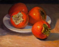 Daily painting, a painting a day, contemporary still life landscape small work of art by Youqing Eugene Wang, Y. Still Life Images, Still Life Art, Still Life Photography, Food Photography, Persimmon Fruit, Fruits Drawing, Still Life Oil Painting, Fall Pumpkins, Lovers Art