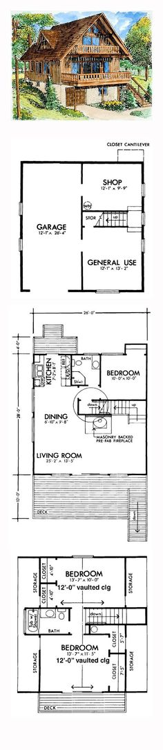 Cabins And Cottages: A-Frame House Plan 57391 A Frame House Plans, Small House Plans, House Floor Plans, Tyni House, Sims House, The Plan, How To Plan, Log Cabin Homes, Barn Homes