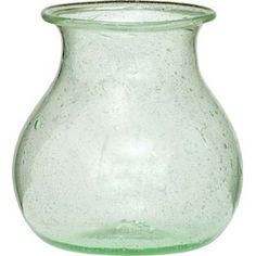 Light Green Recycled Glass Vase Wholesale (honey pot design).  Approximately 3.5 inch diameter by 4 inches high. Hand blown and made of 100% recycled glass, these vessels are not only beautiful to the eye but kind to the environment.