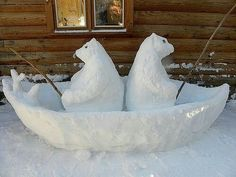 2 Bären sitzen im Boot. Schneebären, die angel… 2 bears are in the boat. Sweet idea for the front yard. Snow bears that are fishing. >> Just when he thought he had seen it all, Frosty chanced upon this sight! Snow Much Fun, I Love Snow, Winter Fun, Winter Snow, Winter Time, Snow Scenes, Winter Scenes, Snow Sculptures, Metal Sculptures