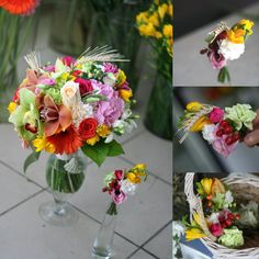 summer bouquet of the bride + boutonniere