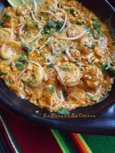 Camarones en Crema de Chipotle-Shrimp in a Chipotle Light Cream Sauce
