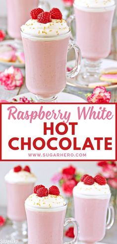 Raspberry White Hot Chocolate - Raspberry White Hot Chocolate is a pretty pink twist on traditional hot chocolate! It's made with white chocolate and real raspberry puree, for a fresh, fruity taste that is perfect year-round! Hot Chocolate Bars, Hot Chocolate Recipes, Homemade Chocolate, White Chocolate, Raspberry Chocolate, Chocolate Blanco, Yummy Drinks, Fun Drinks, Beverages