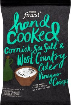 Tesco Finest Crisps I like this but the capital K in the middle of cooked is annoying me Chip Packaging, Packaging Snack, Beverage Packaging, Brand Packaging, Jar Packaging, Food Branding, Food Packaging Design, Packaging Design Inspiration, Handwritten Typography