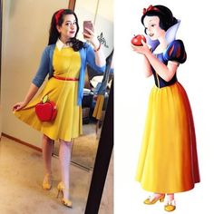 Disney themed outfits, disney dress up, disney bound outfits, princess in. Disney Bound Outfits Casual, Disney Princess Outfits, Disney Dress Up, Disney Themed Outfits, Disneyland Outfits, Disney Diy, Walt Disney, Snow White Outfits, Snow White Outfit Ideas