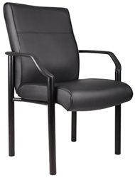 Stylishly upholstered in black polyurethane-infused leather, the affordable B689 guest chair by Boss features lumbar support for passive ergonomic seating. Guests in office waiting rooms and reception areas are sure to love its modern contemporary design.