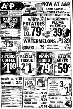 Image result for old grocery catalogues Old Advertisements, Retro Advertising, Retro Ads, Grocery Ads, Grocery Store, Vintage Menu, Vintage Ads, Store Ads, Old Signs