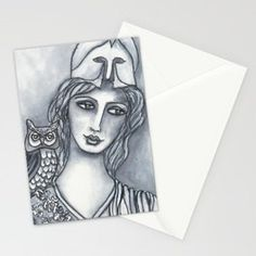 Goddess of Wisdom Stationery Cards... Visit my society6 shop and check out some new products with my artwork. Link: https://society6.com/elenisart  And this Friday you get  FREE SHIPPING on Everything with Code FRIYAY  Start: Friday, 7/20/18 @ 12:00am PT  End: Friday, 7/20/18 @ 11:59pm PT
