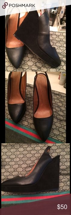 Genuine Zara leather sling back wedge sz 8euro(39) Like New!!!!used once very elegant looking ,comfy and can be dressed up or down  shoes made in Spain Zara Shoes Wedges