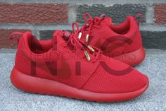 Nike Roshe Run One Red October Yeezy w/ Gold Aglets by NYCustoms