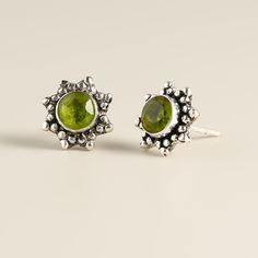 Round Silver Peridot Stud Earrings | World Market