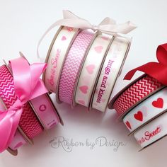 Our pink collection is sweet. Our cream and blush ribbon is for romance. The red and white is so traditional!