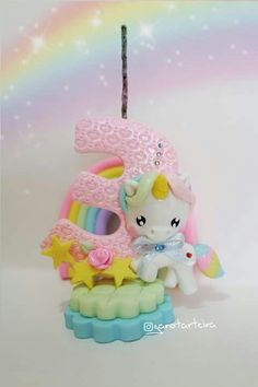 Fondant Decorations, Birthday Decorations, Unicorn Birthday Parties, Unicorn Party, Fondant Numbers, Magical Monster, Fondant Animals, Fondant Cake Toppers, Polymer Clay Animals