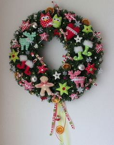 Weihnachten, Türkranz, Shabby Shic, Handarbeit von Anastasiyas Stoffmärchen auf DaWanda.com