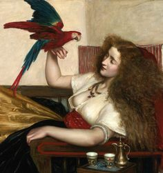Valentine Cameron Prinsep (British, The Lady of the Tooti-Nameh, or The Legend of the Parrot (detail) Dante Gabriel Rossetti, William Morris, Edward Robert Hughes, Frank Dicksee, John Everett Millais, Edward Burne Jones, Romantic Paintings, John William Waterhouse, Pre Raphaelite