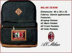 tas ransel AC MILAN denim/jeans dengan spesifikasi sebagai berikut: bahan: denim/jeans dimensi: 32 x 15 x 45 cm dalam: lapis furing premium jumlah kantong: 1 kantong utama, 1 slot laptop, 2 kantong depan, 2 kantong samping logo: bordir komputer kode barang: MILRDEN  format pemesanan, ketik: KODE BARANG # NAMA # ALAMAT LENGKAP # NO.HP kirim ke: 081908730081 (SMS)               25a31654 (BBM)               085736078627 (WA)