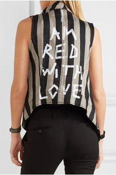 Ann Demeulemeester - Printed Striped Linen-blend Vest - Black - FR