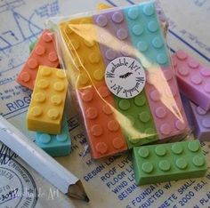 Lego soap! A cute favor for a Lego party. Cross-reference my Fun, Festive Favors board. :)