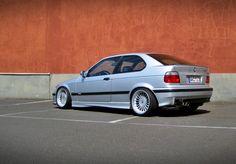 Silver BMW e36 compact on Alpina wheels