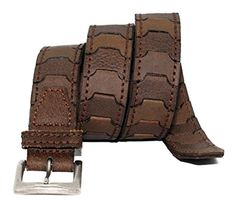 - Toneka Men's Casual Steampunk Two Tone Link Leather Belt - Brown Leather Holster, Leather Belts, Brown Leather, Casual Belt, Men Casual, Casual Steampunk, Leather Tooling Patterns, Belt Without Buckle, Leather Workshop