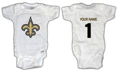 Football New Orleans Saints ONESIE with custom name. Baby/Toddler sizes.. $14.99, via Etsy.