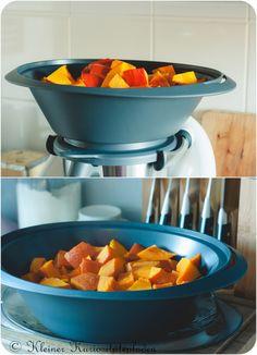 gewürfelter Kürbis im Varoma Serving Bowls, Pumpkin, Tasty, Tableware, Dips, Recipes, Low Carb, Pumpkin Puree Recipes, Cooking Recipes