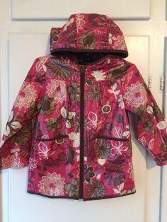 OLD NAVY Toddler Girls Pink Brown Flowers Hooded Rain Jacket Coat Size 3T Spring #OldNavy #RainCoat #Everyday