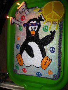 The penguin cake I made for my sis-in-laws 17th bday... my dog somehow made it onto the counter and ate the corner. I cried. So my husband did damage control and bought a moon-pie to try and fix it. I love him.