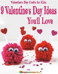 FREE e-Book: 9 Valentine's Day Crafts for Kids! #valentinesday #craft #thefrugalgirls