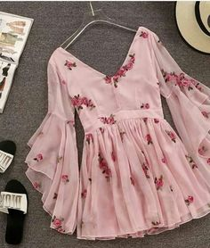 V-neck Flare Sleeve Flower Short Ruched Mini Pink Chiffon Dress SE – deevybuy Clothes Teen Fashion Outfits, Trendy Outfits, Fashion Dresses, Cute Outfits, Dress Outfits, Style Fashion, Western Dresses, Western Outfits, Cute Dresses
