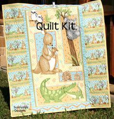 Panel Quilt Kit, Quick Easy Fun, Beginner Project, Mommy and Me, Shelly Comiskey, Henry Glass Fabrics, Kangaroo Panda Alligator Hedgehogs Panel Quilt Kit Quick Easy Fun Beginner by SunnysideFabrics