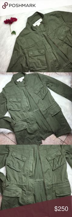 """TREASURE ANS BOND OLIVE GREEN UTILITY JACKET M Super cute and prleoved. Small defects. Tiny snag hole on back. Discoloration on side of back. Want to save more? Bundle and save on shipping. Measurements:  Length: 29.5""""  Underarms: 18.5""""   * smoke free home * Reasonable offers only please * All items are recorded in condition listed prior to shipping  * follow me on IG for exclusive sale offers @theposhpassport_ Treasure & Bond Jackets & Coats Utility Jackets"""