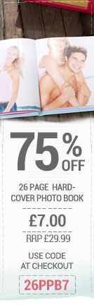 12 Hour SALE  75% Off our 26 Page Personalised Hardcover Photo Book Use code 26PPB7 at checkout. Remember use this code to buy the voucher now at this great price and redeem at your leisure.