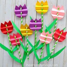 Pretty paper straw tulip craft for kids, perfect for a spring kids craft, spring flower craft for kids and flower kids craft.