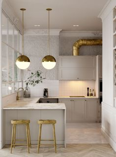 Do You Need Ideas For Mid-Century Modern Kitchen Style In Your Home? Industrial Style Kitchen, Industrial Interior Design, Industrial Interiors, Interior Design Kitchen, Kitchen Modern, Industrial Chic, Kitchen Designs, Vintage Kitchen, Modern Kitchens