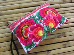 Pink Summer Blooms Hmong Clutch Purse Hill Tribe by midgetgems, $9.99