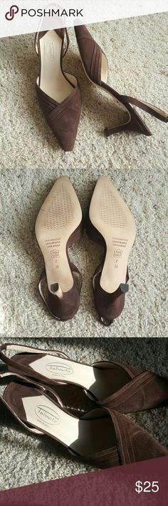 "Talbots taupe suede sling backs size 7M Smart, sophisticated shoes. Perfect for Fall weather. NWOT. Talbots taupe color suede, made in Italy. Leather upper, leather sole. Heel height 2 &1/2"" from sole seam,  3"" from top of sole to ground. Talbots Shoes Heels"