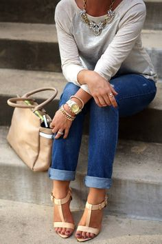 neutrals with rolled jeans