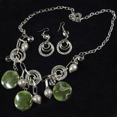 Paparazzi Glazed Green Beads and Silver Charms Necklace & Earrings Set. $5 www.fashion5jewelry.com Paparazzi $5 Jewelry & Accessories. #$5 jewelry #Paparazzi Jewelry