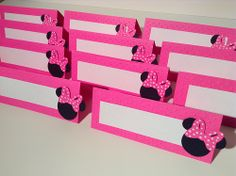 Minnie Mouse food labels/buffet tents and Mickey Mouse birthday party decorations