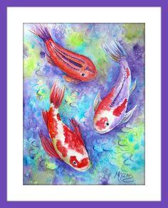 Colorful Koi Fish Watercolor by Martha Kisling by MarthaKislingArt Watercolor Fish, Watercolor Sunflower, Watercolor Flowers, Watercolor Paintings, Watercolors, Watercolor Ideas, Koi Art, Fish Art, Pastel Sky