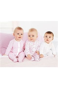 Three Pack White and Pink Frill Sleepsuits (0mths-2yrs)