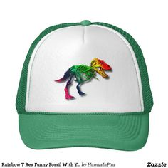 Rainbow T Rex Funny Fossil With Your Name Trucker Hat