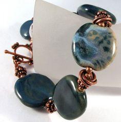 Rusty Denim Bracelet - Kazuri ceramic and copper bracelet - SOLD