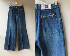 These incredible true vintage high waisted bell bottom jeans are available now in my shop: Vintage High Waisted Flared Jeans / Bell Bottoms / Wide Leg / High Rise / Blue / Flares / / XS Vintage Denim, Vintage 70s, Hips And Curves, High Waisted Flares, Denim Pants, Flare Jeans, Bell Bottoms, Bell Bottom Jeans, Shopping