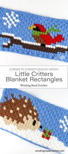 Corner to corner holiday hedgehog and bird rectangle graph blanket. Designed by Winding Road Crochet. C2c Crochet Blanket, Crochet Squares Afghan, Crocheted Afghans, Crochet Chart, Crochet Blanket Patterns, Crochet Ideas, Crochet Projects, Free Crochet, Corner To Corner Crochet Pattern